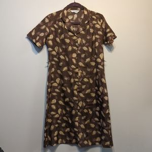 Brown feather print vintage shirt dress
